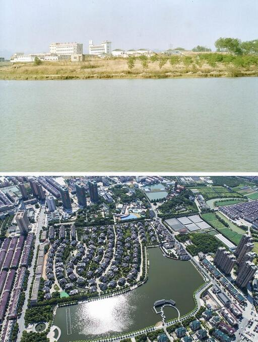 Combo photos show the before (in the early 20th century) and current (June 27, 2018) view of Jixiang lake in Huayuan Village