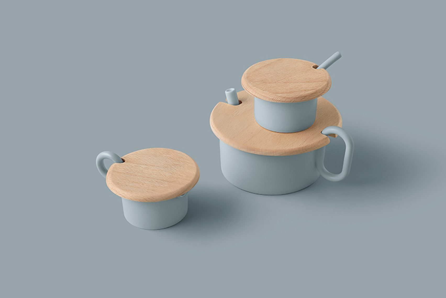 Nendo ,Nendo creates fungi-like tableware and a tea set with an oversized lid