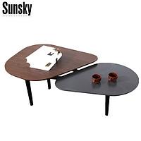 popular metal oval coffee table wood top walnut matt grey M7A