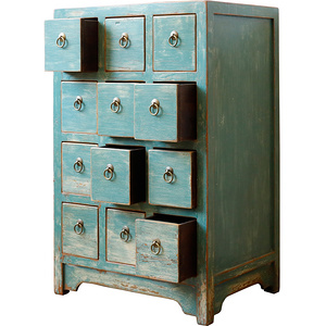 Ancient Age furniture Chinese antique distressed paint 12-drawer cabinet