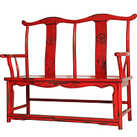 Ancient Age furniture Chinese traditional distressed paint  red double chair