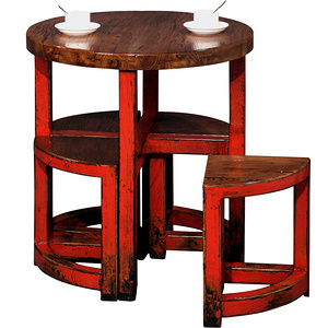 Ancient Age furniture Chinese traditional simple distressed paint round table with stools