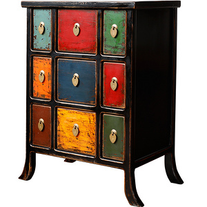 Ancient Age furniture Distressed paint multi-color 9-drawer cabinet