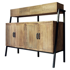 Ancient Age furniture Rustic reclaimed iron-wood storage sideboard