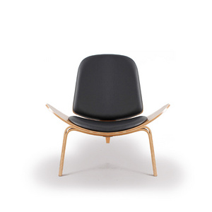 TENGYE Scandinavian Creative Triangle Shell Chair Solid Wood Leisure Smile Aircraft Chair Direct Selling TY-103