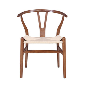 TENGYE solid wood dining chair Nordic white wax armrest fork bone knitting rope Y chair hotel dining room solid wood chair GW010