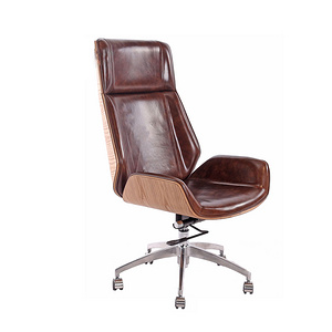 TENGYE Nordic Staff Cowskin Office Chair Supervisor Chair Rotary Lift Chair High Back Curved Wood Computer Chair TY-209A