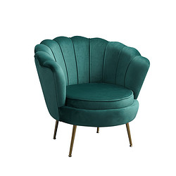 Modern Gold Stainless Steel Accent Green Finger Flower Shape Armchair Occasional Club Velvet Lounge single sofa Chairs