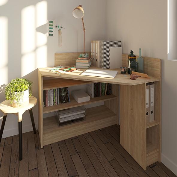 Natural oak Corner desk