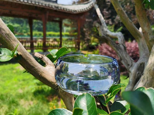 Blue Coated crystal ashtray