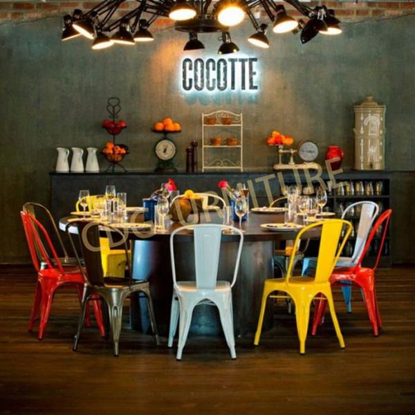 Bistro Cafe Hotel Restaurant Metal Frame Dining Stackable Vintage Sedie Sillas Tolixs Chair 618-H45-ST