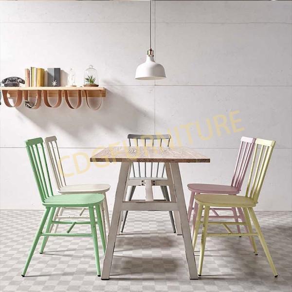 Wholesale Metal Frame Wooden Top Restaurant Cafe Bistro Table Furniture Dining Table Set  649DT-STW