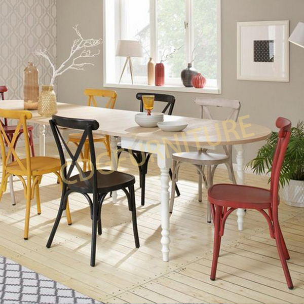 Home Cafe Aluminium Stacking Cross Back Vintage Industrial Other Metal Indoor Use Resturant Furniture Chair