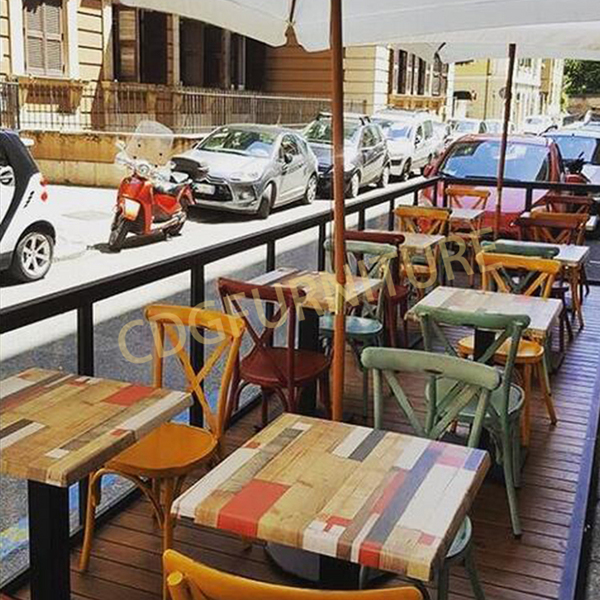 Rental Restaurant Cafe Cross Back Antique Chairs Outdoor Indoor Stackable Iron Restaurant Cafe Chairs 657S-H45-ALU