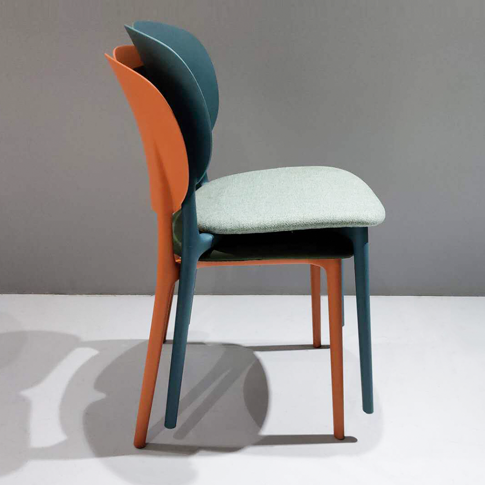 Design stackable fabric upholstered dining chair with exchangeable seat