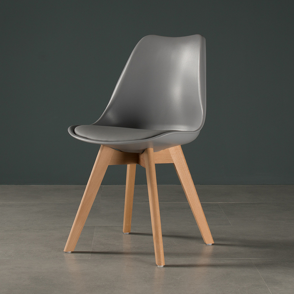 Modern PlasticDining Chair With Wood Legs