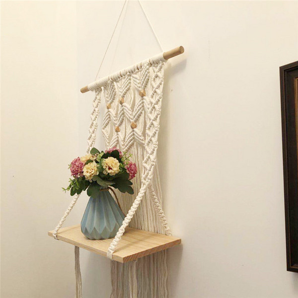 Macrame wall shelf