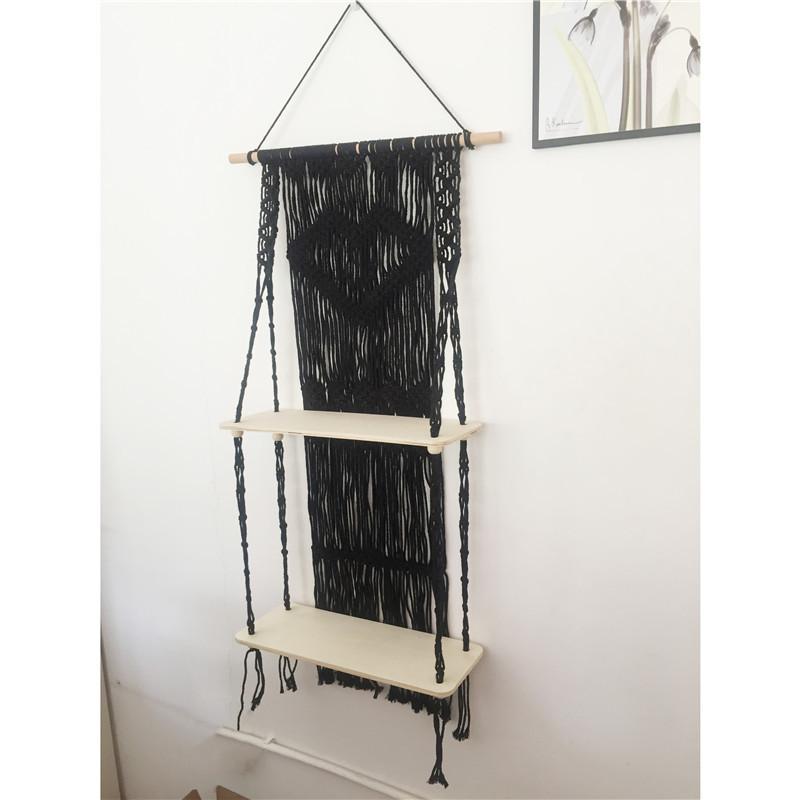 2 layer wood slab black wall hanging