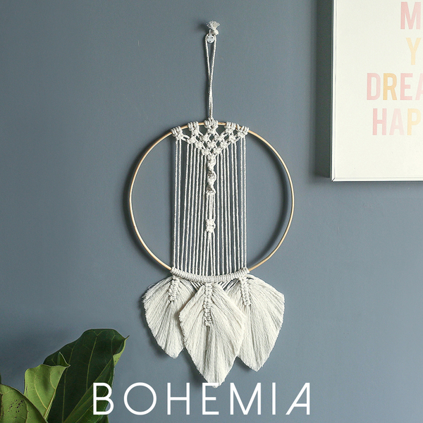 Bohemia golden ring with leaves wall hanging