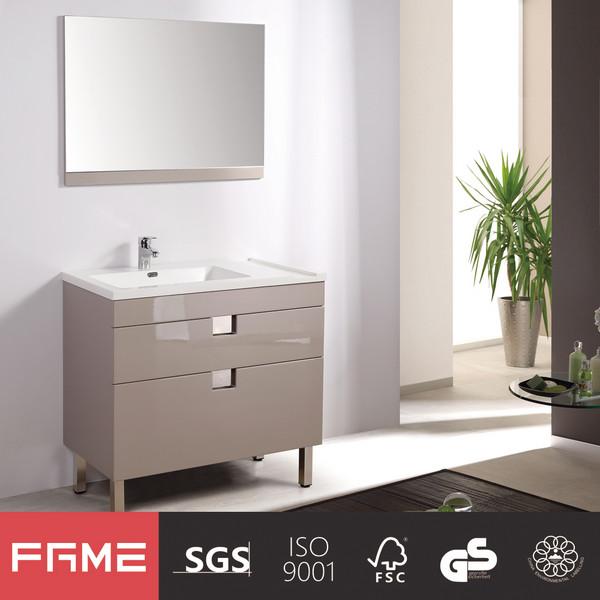 Modern Metallic Lacquer Freestanding Ceramic Basin Full Set Bathroom Vanity