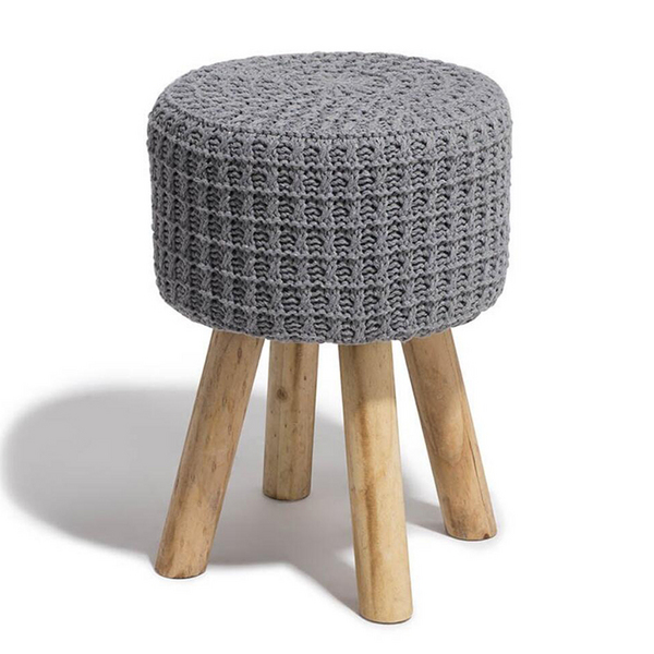 Knitted Macrame covered ottoman