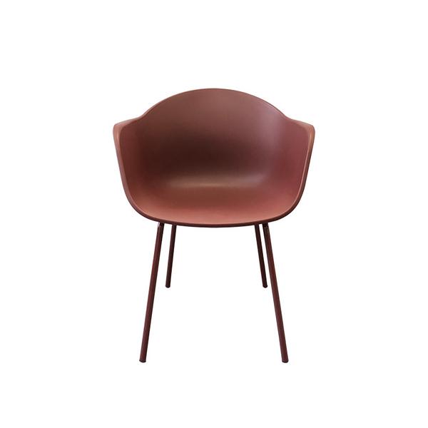 plastic armchair with metal leg