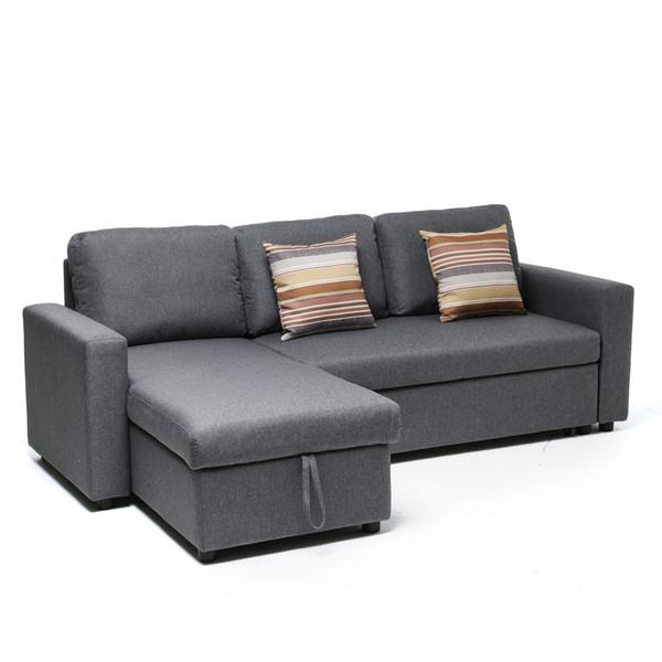 Modern Convertible linen L Shape folding corner Sofa cum Bed with storage