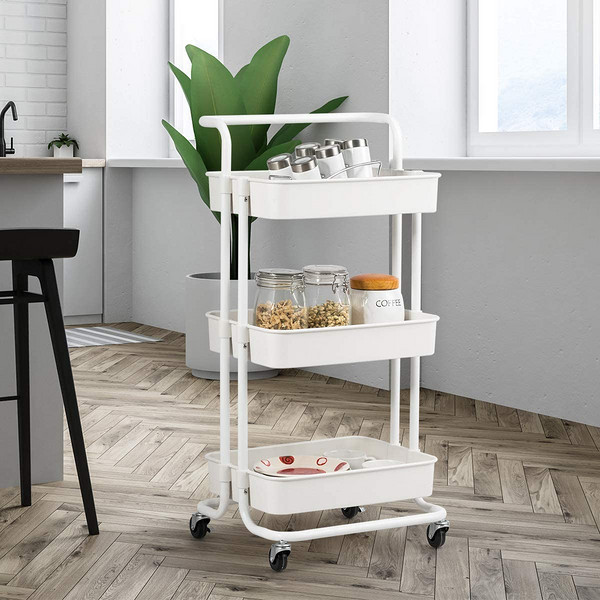 3 Tier Metal Rolling Utility Organizer Rack,  Multi-Purpose Organizer Shelf