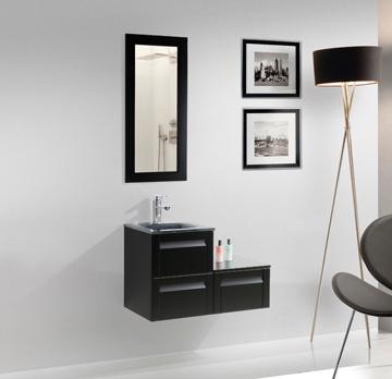 Black Wall Mounted Matt Lacquer Wood Bathroom Vanities