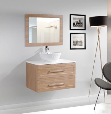 Modern Wall Mounted Upmount Ceramic Sink Wood Melamine Bathroom Cabinets -MFYJ-05