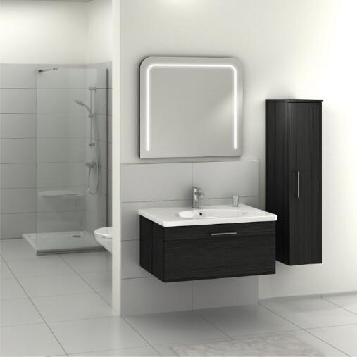 Modern hung melamine veneer MDF bathroom furniture with side cabinet