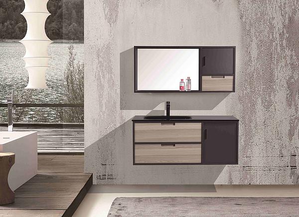 single sink hotel bathroom wood vanity
