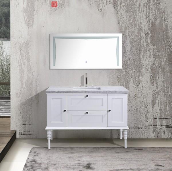 floor mounted wood storage design mirror bathroom cabinets made in Hangzhou