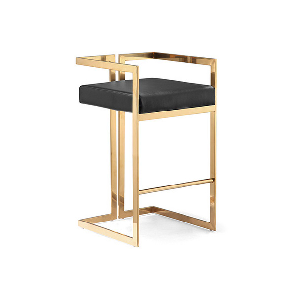 Modern high quality bar stools gold stainless steel bar chair leather stool chair
