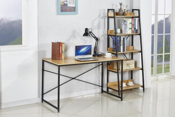 minimalism style computer table and book cabinet