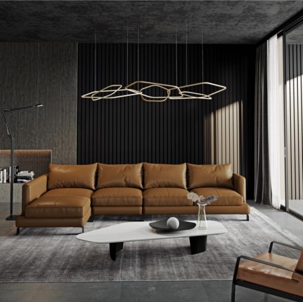 Leather covered L shape sofa 9052