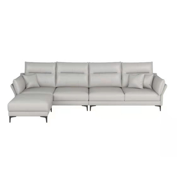 White leather 4 seat sofa with stool