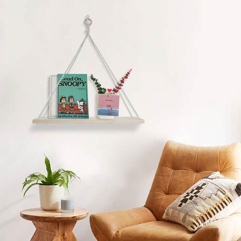 Wood Ring Hanging Shelf Wall Swing Storage Shelves 1 Tier Jute Rope Organizer