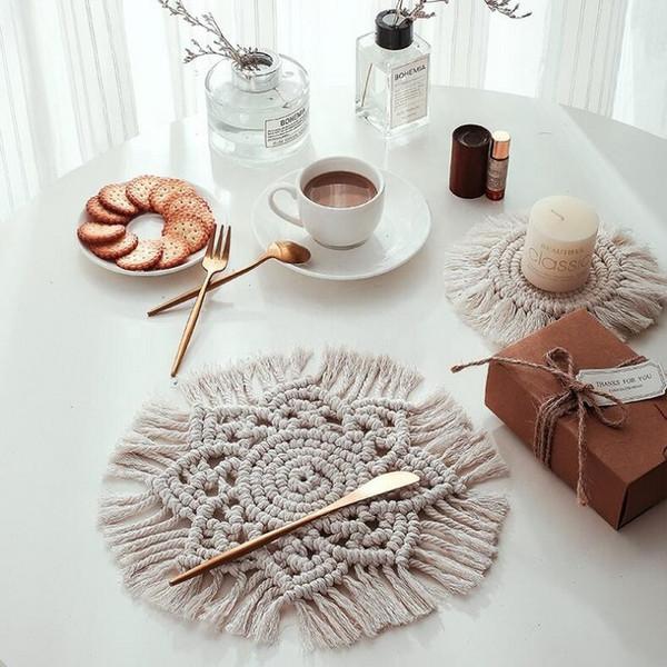 Boho Home Accessories Decor Luxury Handicraf Macrame Coaster