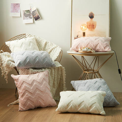 Nordic Soft Plush Pillow Cover Faux Fur Throw Pillow Cover with Modern Woven Partten