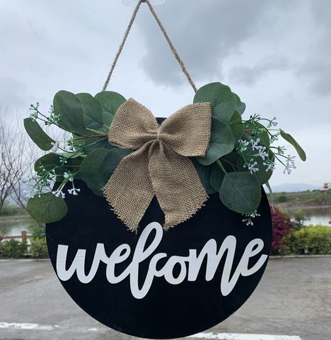 Spring Front Door Decor Round Wood Hanging Sign Farmhouse Porch for Home Decoration and Welcome sign