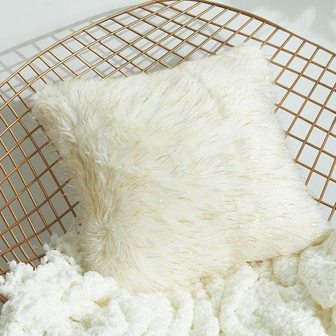 Fleece Style Series White and Beige Color with Gold Thread Soft Long Faux Fur Cushion Cover
