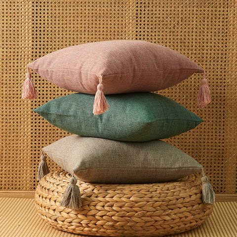 Thick Cotton Pillow Cover with Macrame Tassel for Sofa ,Chair ,Bed