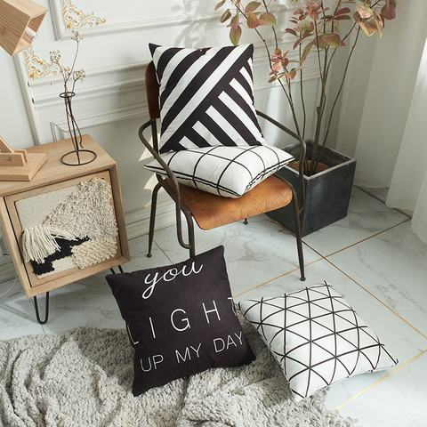 Black-and-White Stripes Best Office Gift Cushion Cover