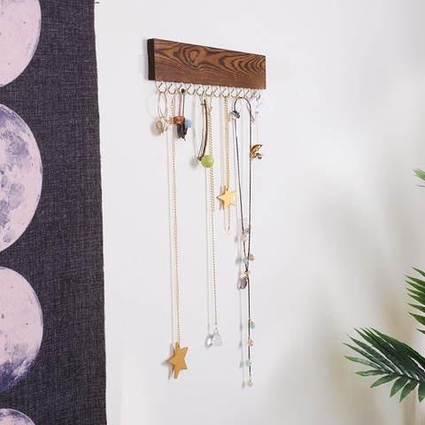 Key Jewelry Wall Mounted Rack with Hooks Necklaces Wood Hanger