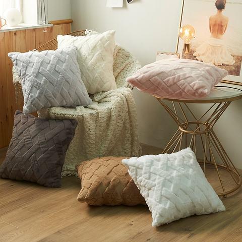 Decorative Euro Pillow Covers Corn Striped 2 Soft Plush Short Wool Velvet Decorative Throw Pillow Covers