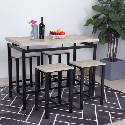 MDF New Design Modern Fashion Dining Table Set One Table and 4 Stools